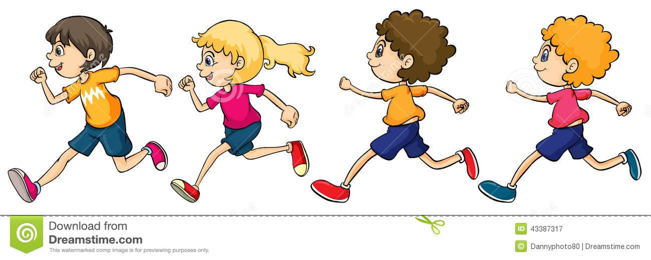 Girl running race clipart.