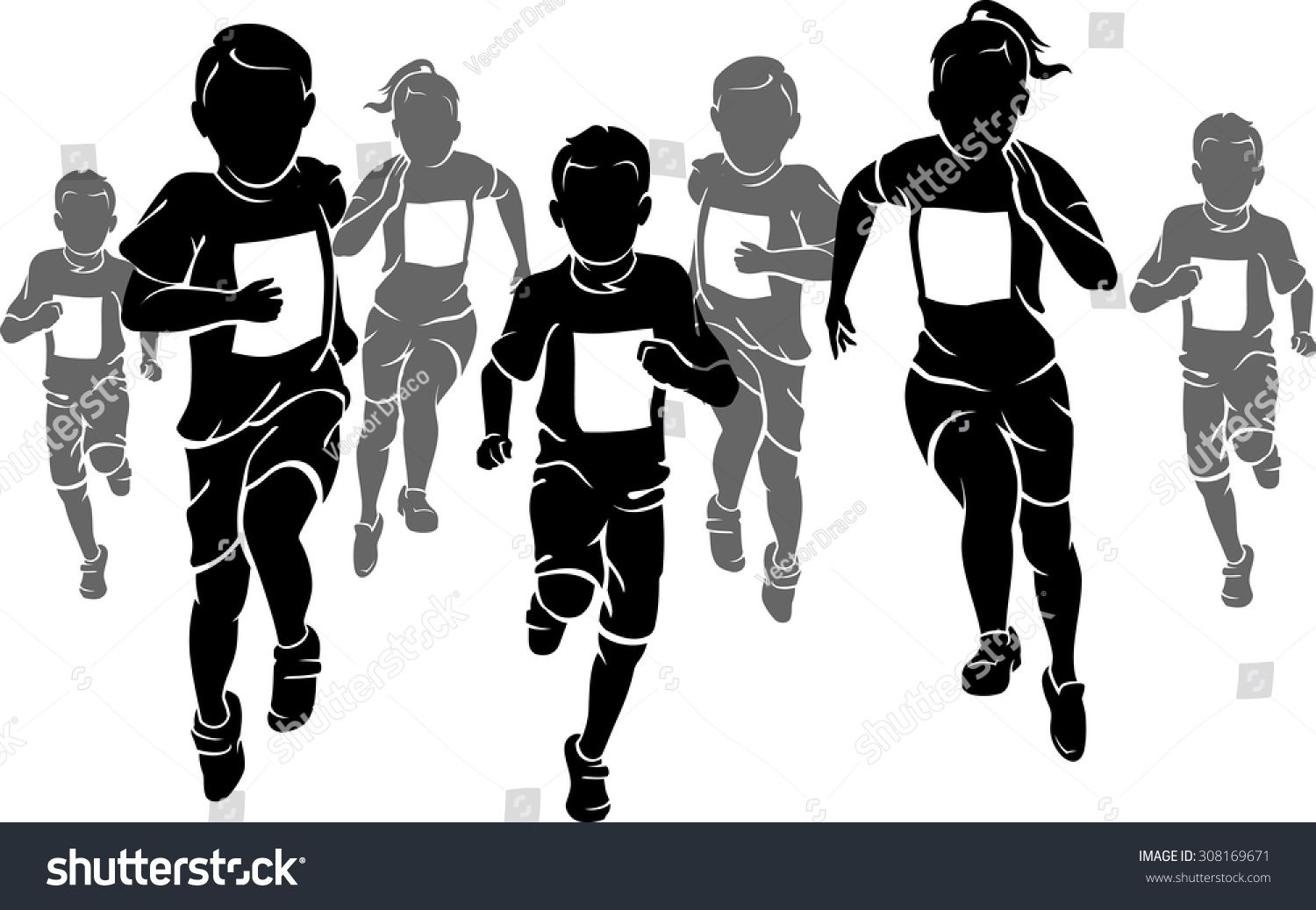 running with kids clipart black and white.