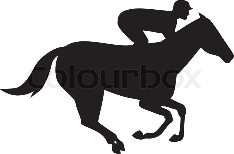 Race Horse And Jockey Silhouette.
