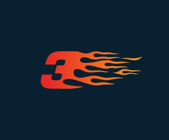 Number 3 fire flame Logo. speed race design concept template.