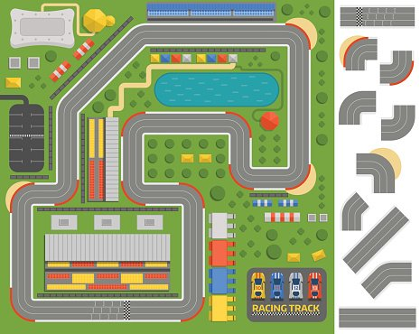 Race track curve road Clipart Image.