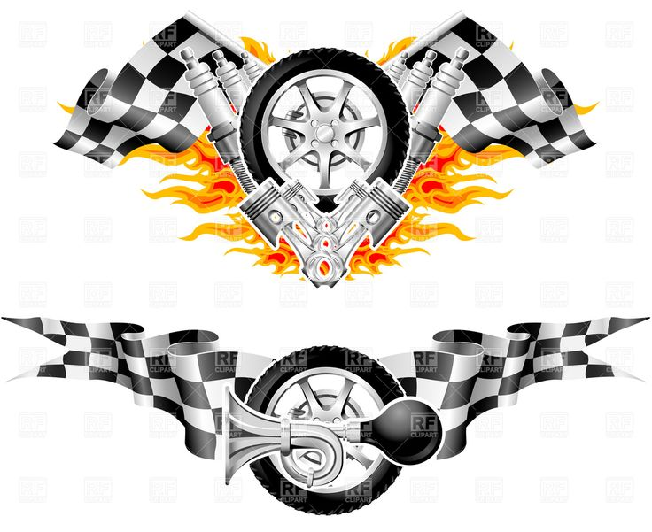 Racing Flag Dragon Clipart.