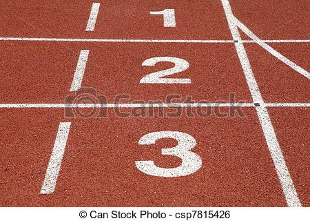 Stock Image of Number 1 2 and 3 of race track csp7815426.