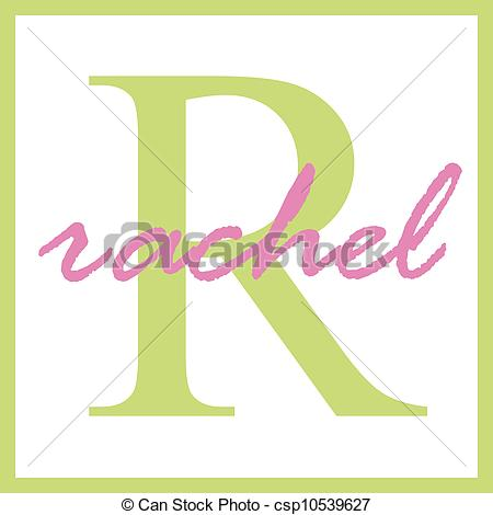 Clip Art of Rachel Name Monogram.