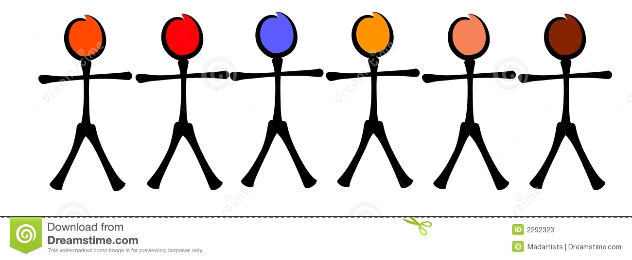 Stick Figures Racial Equality Stock Photos.