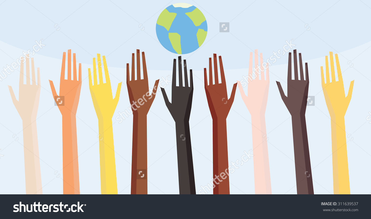 Illustration Peoples Hands Different Skin Color Stock Vector.