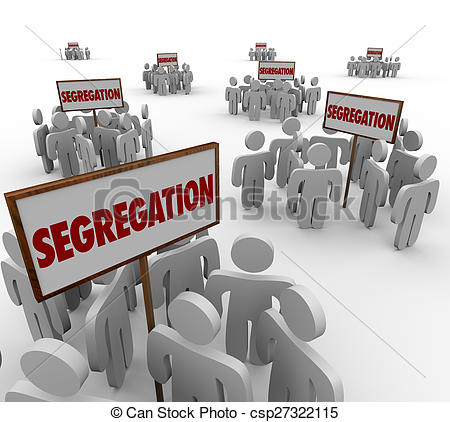 Clipart of Segregation Signs Groups People Divided Discrimination.