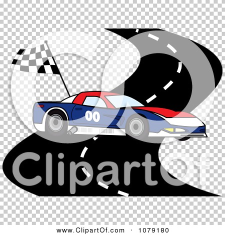 Clipart Red White And Blue Race Car On A Track With A Checkered.