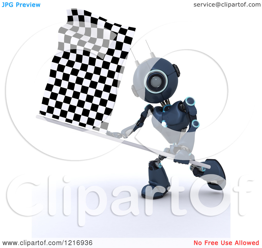 Racing Blue Flag Clipart.