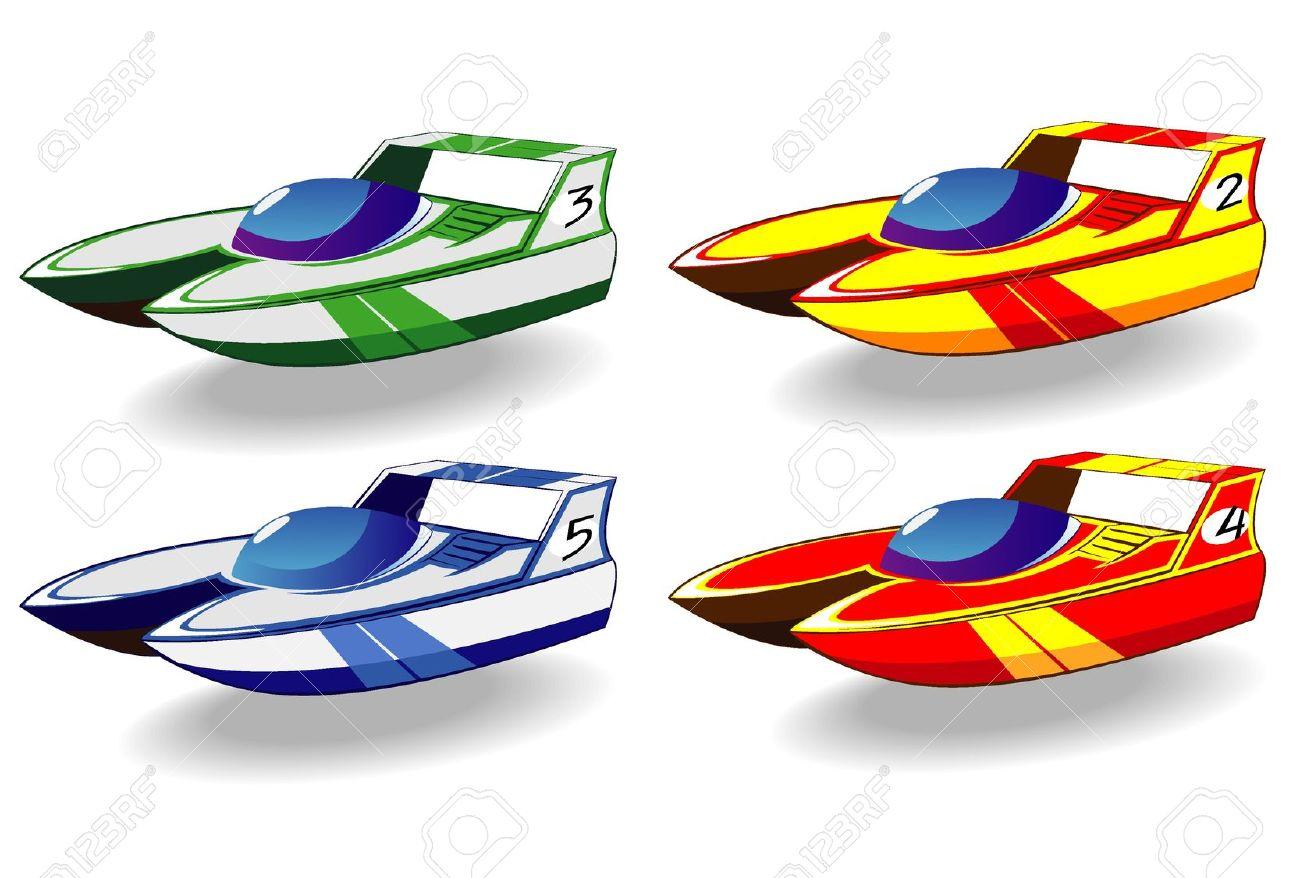 Set Of Cartoon Racing Boats Royalty Free Cliparts, Vectors, And.