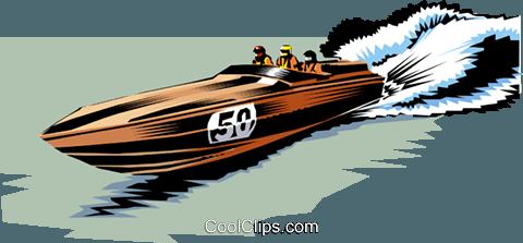 Racing boat Royalty Free Vector Clip Art illustration.