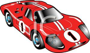 Red Race Car with White Stripes Clipart Picture.