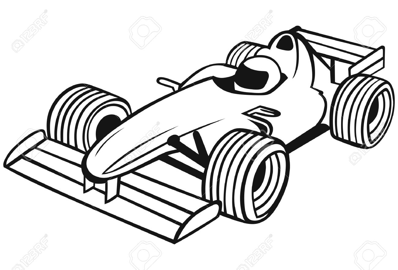 Race Cars Clipart Black And White.