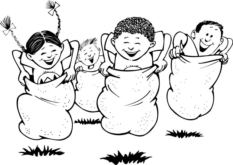 Sack Race Clipart Black And White.
