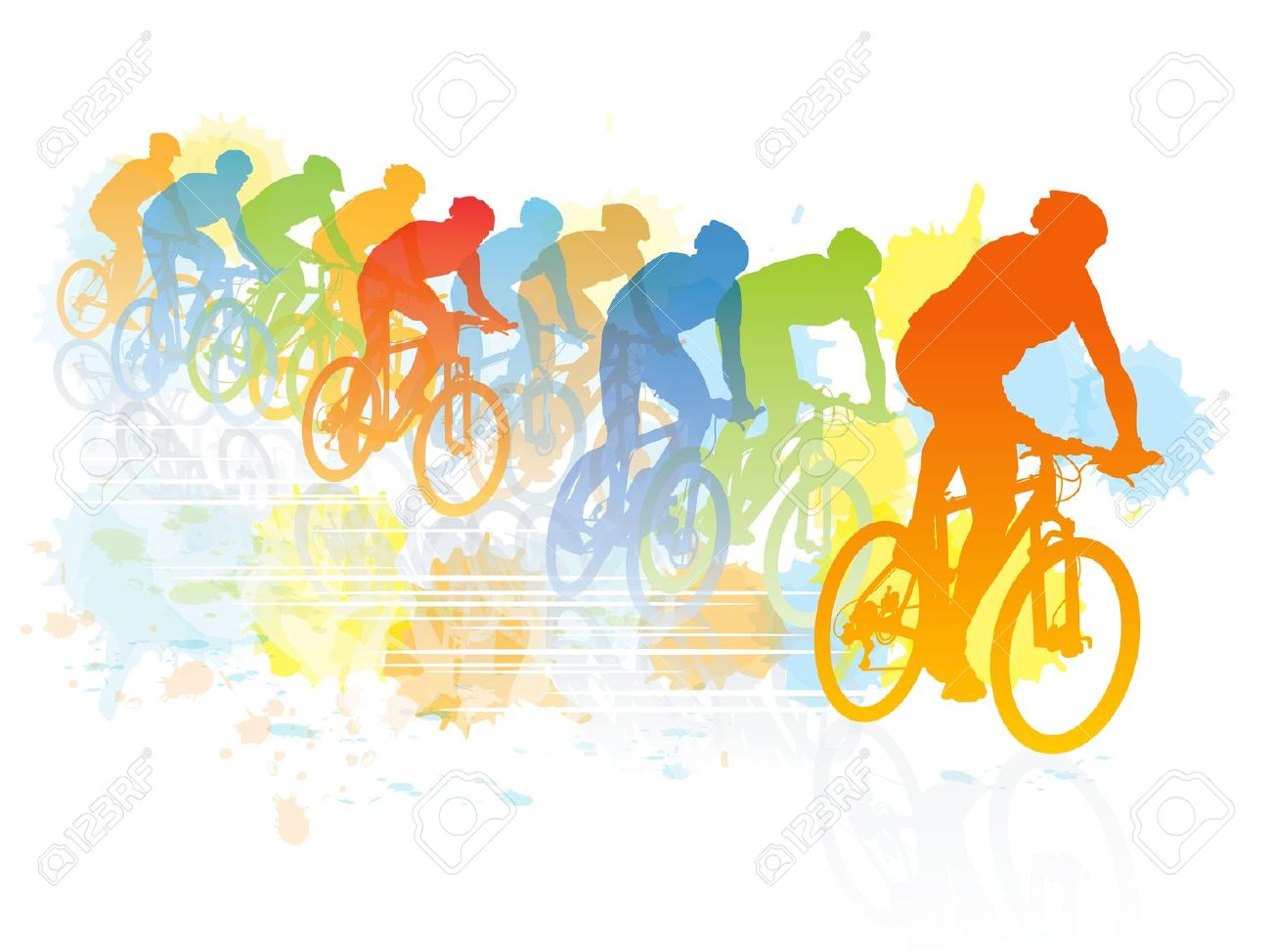 Group Of Cyclist In The Bicycle Race. Sport Illustration Royalty.