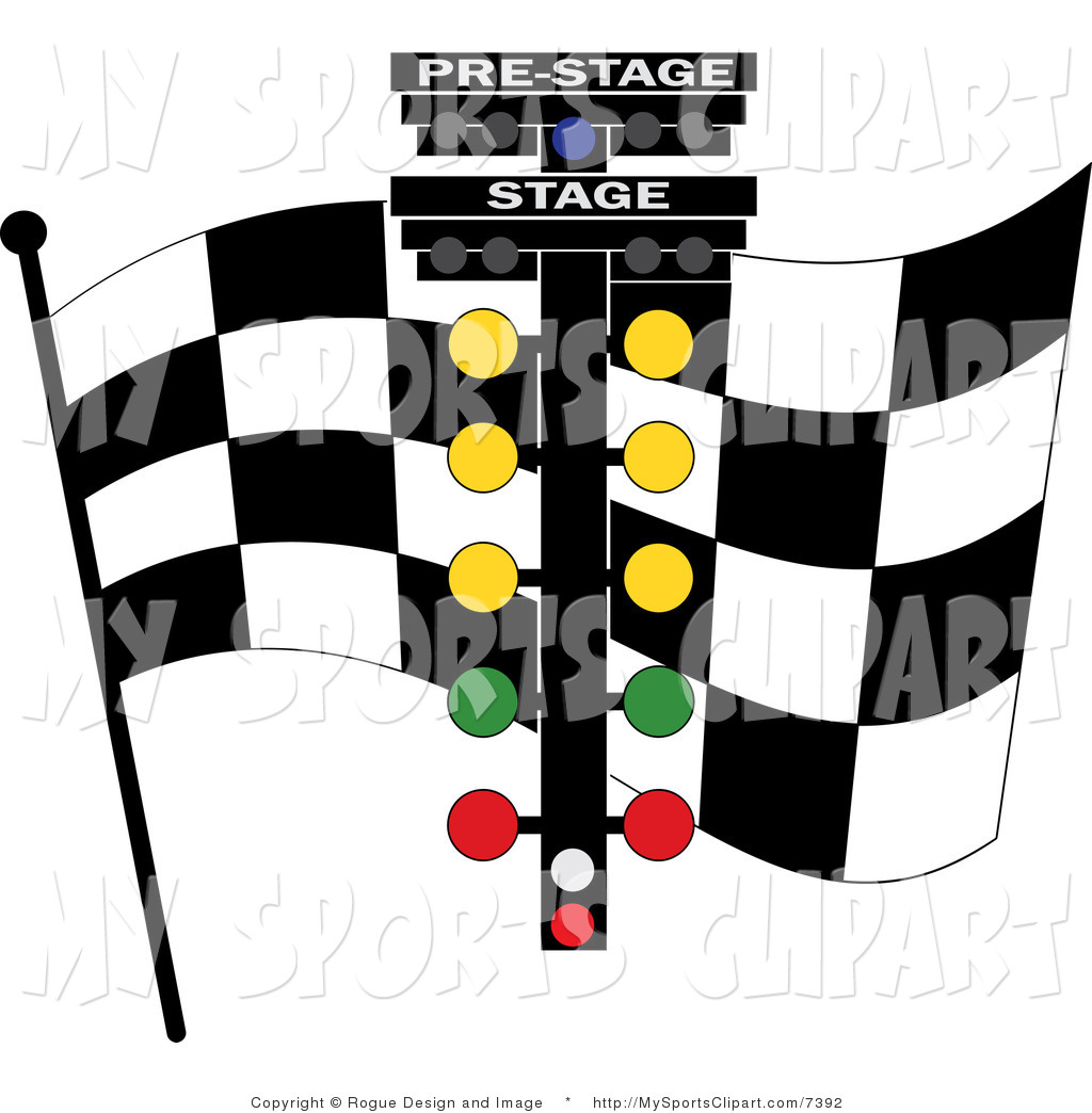 Racing flag stand clipart.