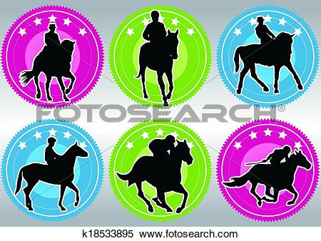 Clipart of Horse racing game silhouette k18533895.