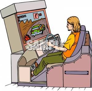Art Image: A Boy Playing Racing Games.