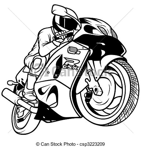 Stock Illustration of Motorcycle Racing, Hand Drawn illustration.