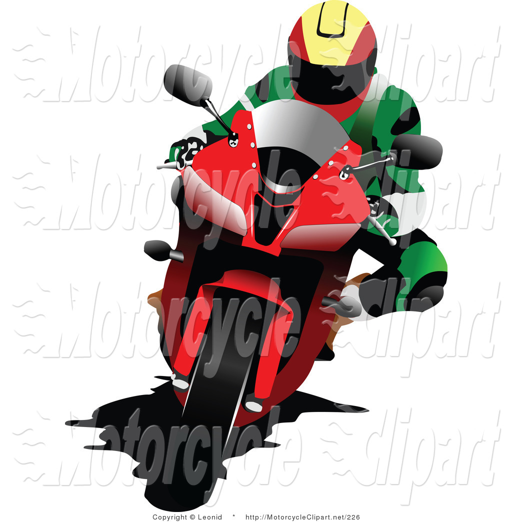 Transportation Clipart of a Person Racing a Red Motorcycle by.