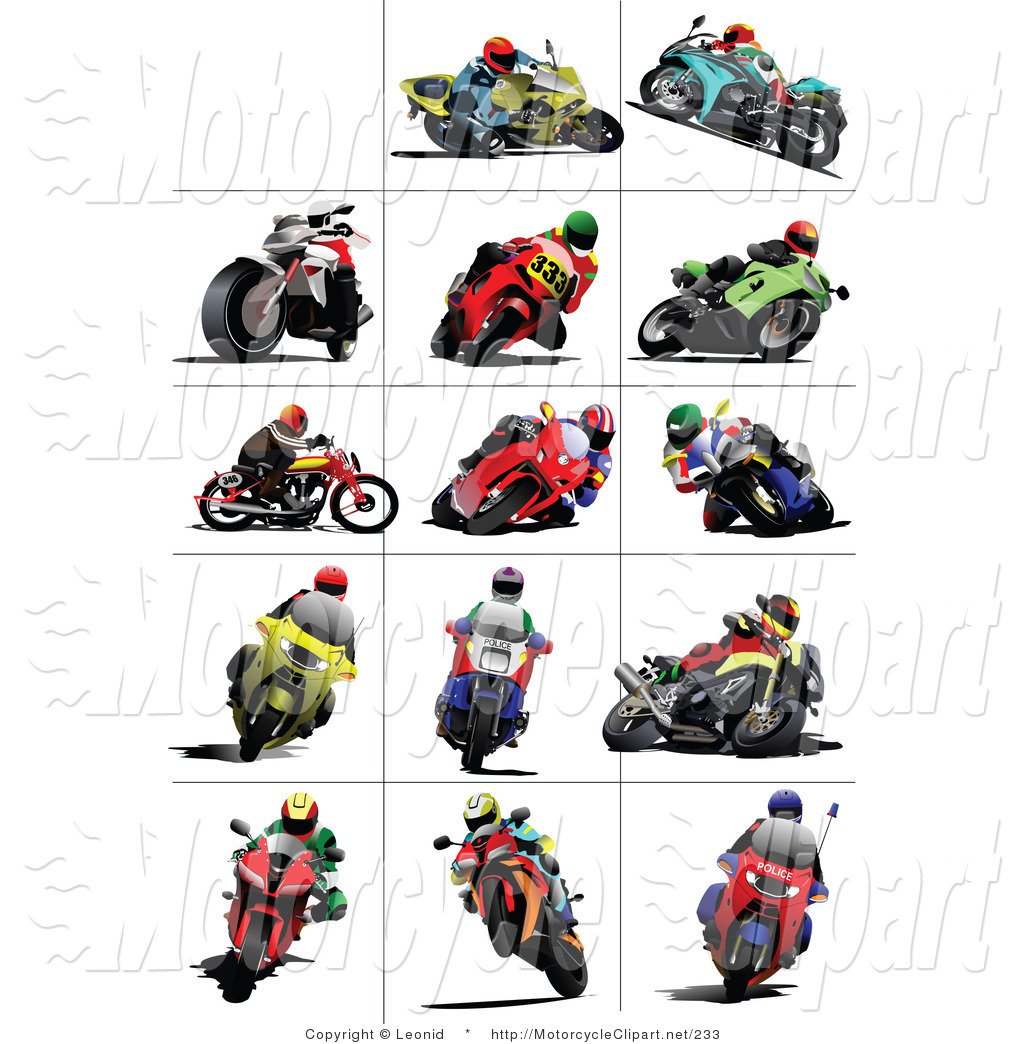Transportation Clipart of People Riding Racing Motorcycles by.