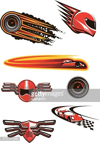 Motorcycle and car racing symbols Clipart Image.