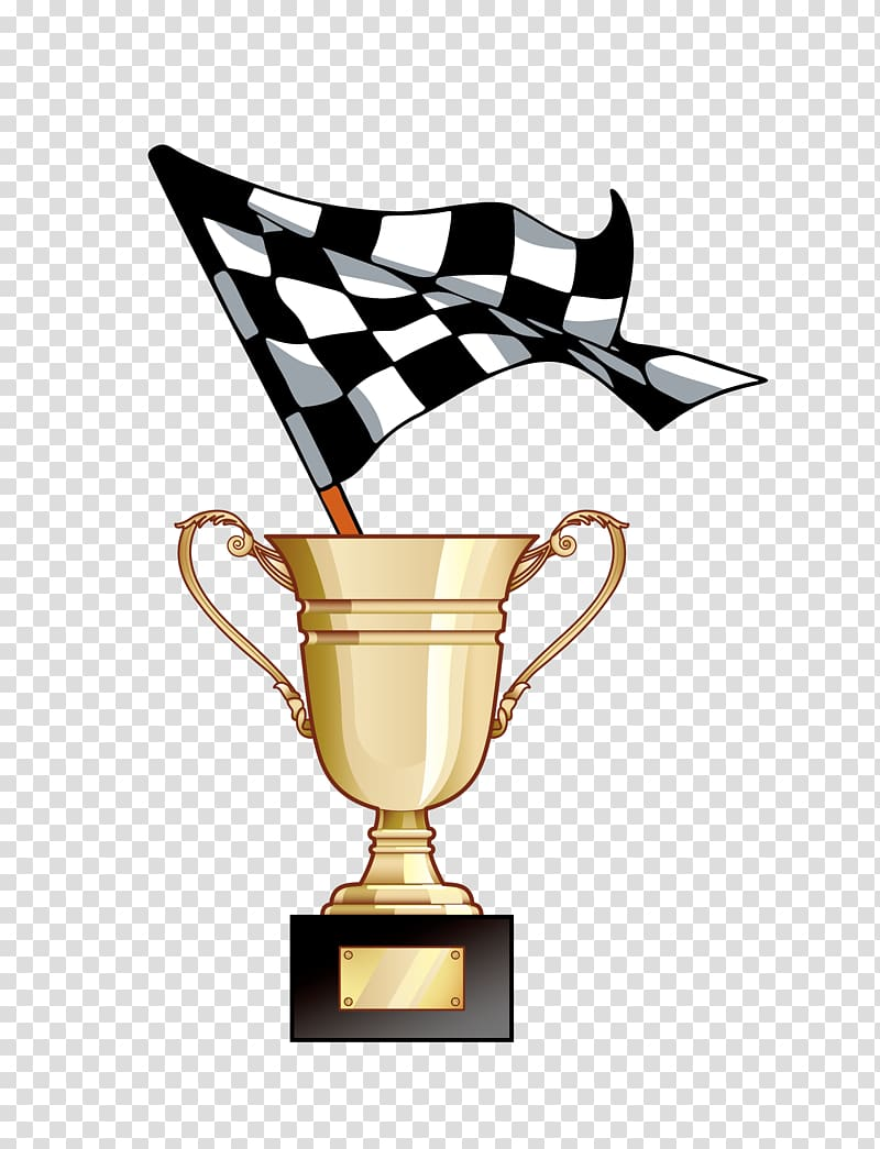 Gold trophy with flag , Racing flags Auto racing Racetrack.