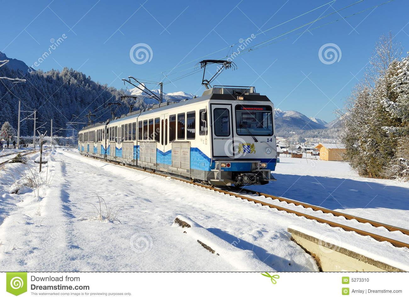 Rack Railway Of The Bayerische Zugspitzbahn Stock Photo.