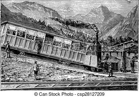 Vector Clipart of Railway rack Rigi. Locomotive and freight car.
