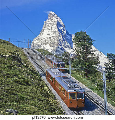 Stock Photography of Gornergratbahn rack railway train and the.