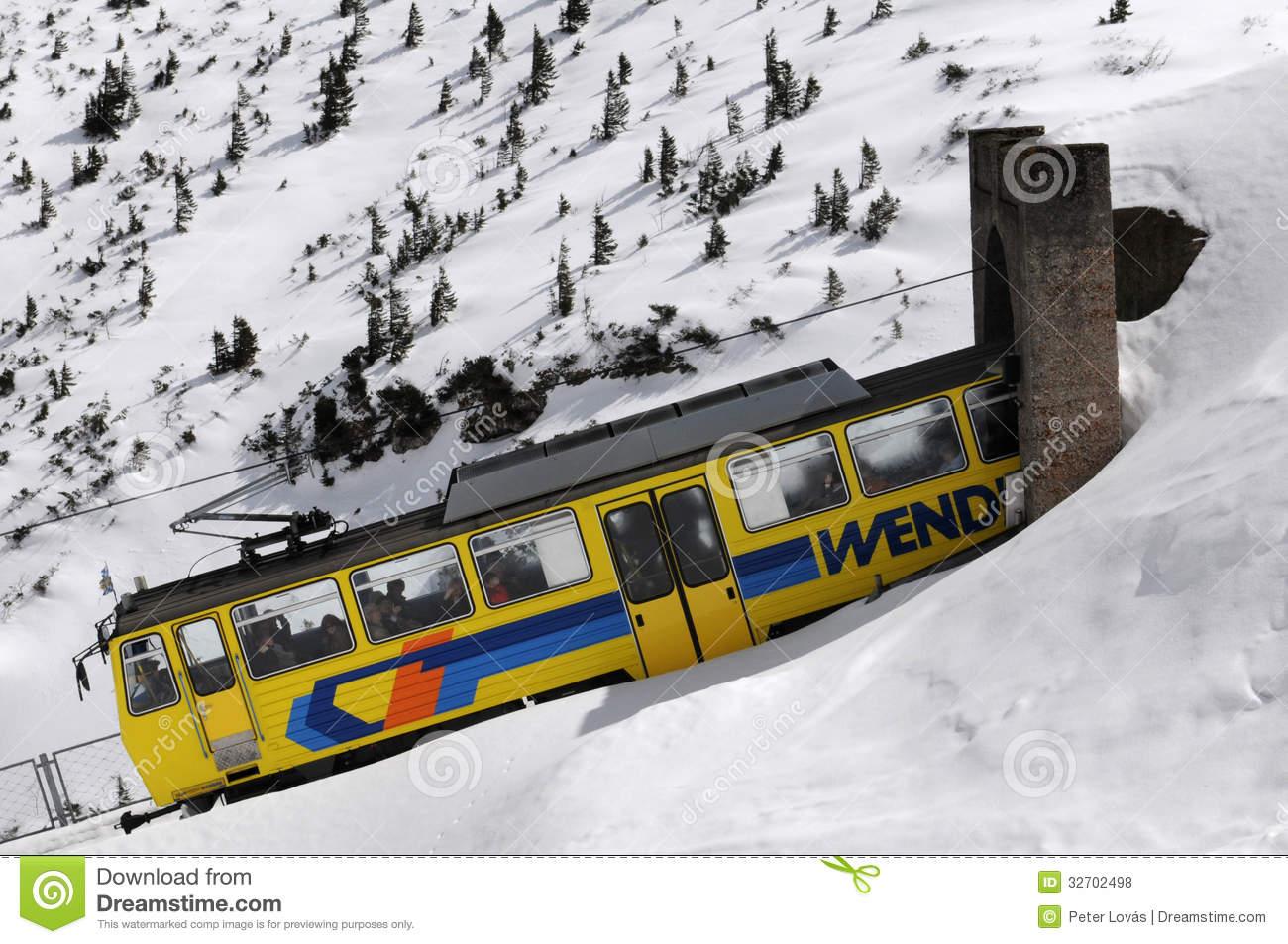 The Wendelstein Rack Railway In Winter Editorial Stock Photo.