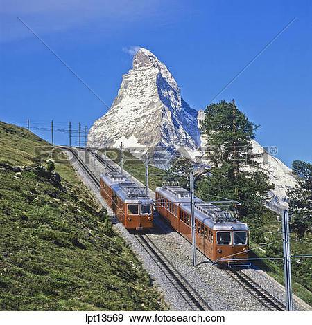 Stock Photograph of Gornergratbahn rack railway train and the.