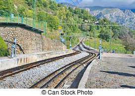 Stock Photo of Rack railway railroad tracks in Vall de Nuria in.