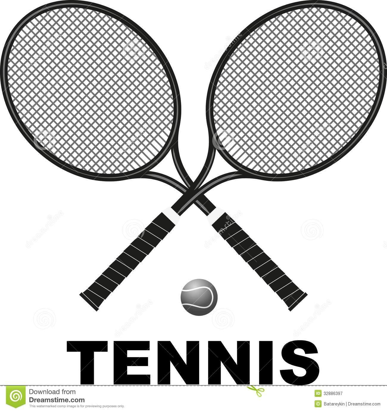 Crossed tennis rackets clip art.