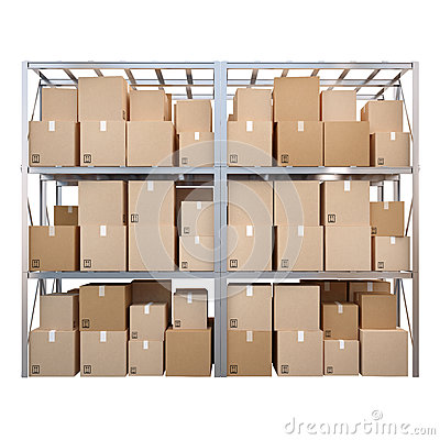 Metal Racks With Boxes Isolated On White Background Stock Photo.
