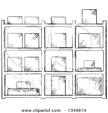 Clipart of a Black and White Sketched Warehouse Rack with Boxes.