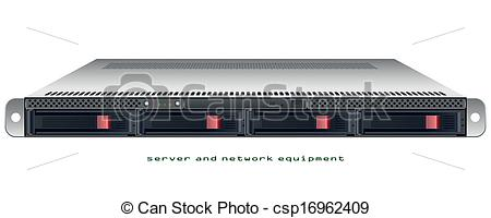 Vector Clipart of Server rackmount 1u chassis vector graphic.