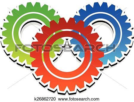 Clipart of Various gear wheel, rack wheel vector graphics.