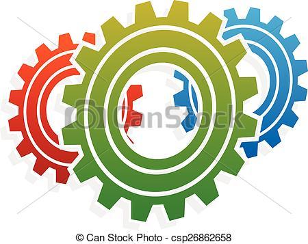 Clipart Vector of Various gear wheel, rack wheel vector graphics.