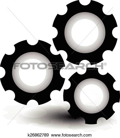 Clip Art of Various gear wheel, rack wheel vector graphics.