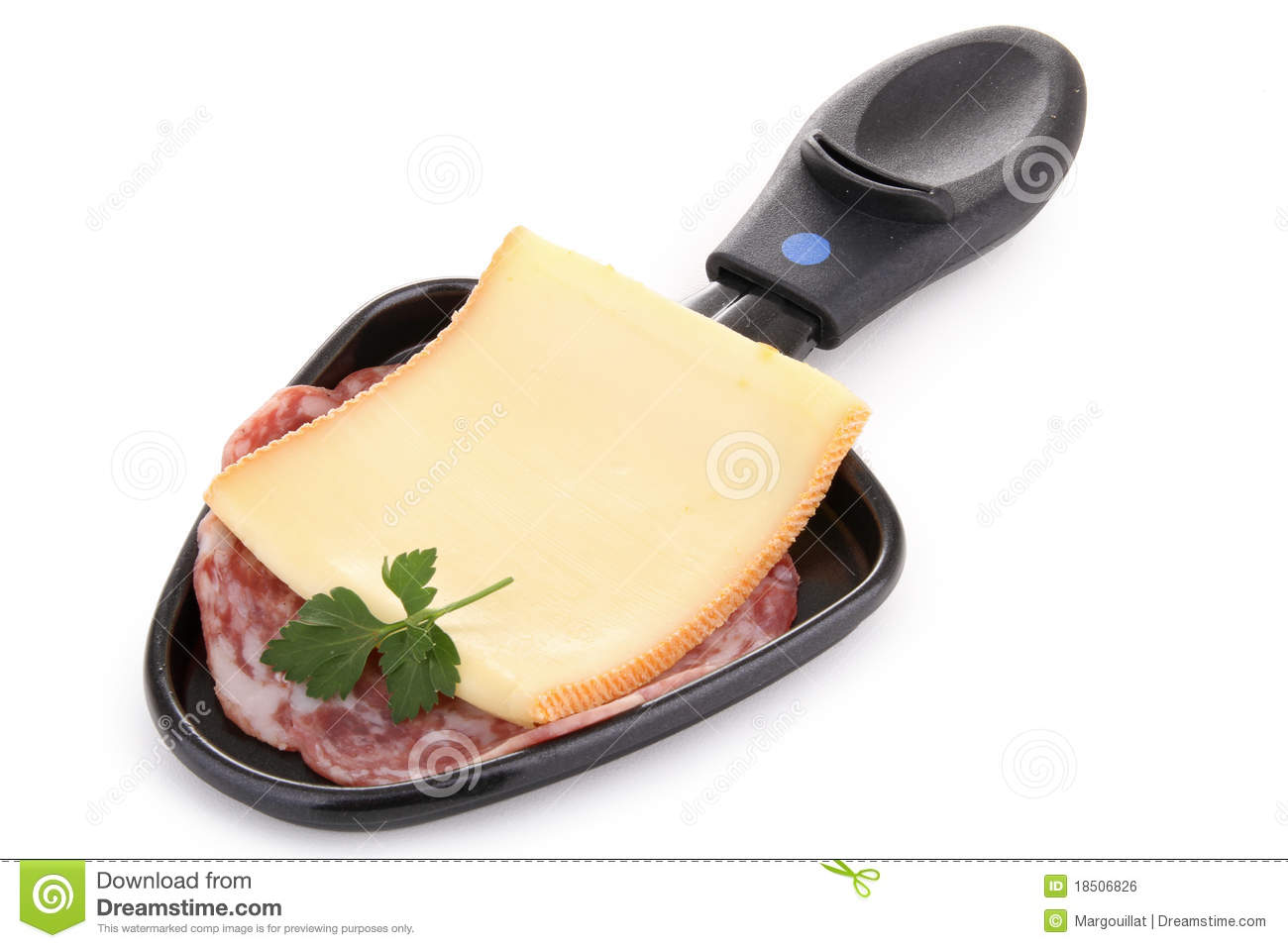 Spoon Of Raclette Cheese Royalty Free Stock Image.