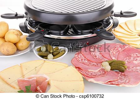 Stock Photo of raclette,cheese,meat and set csp6100732.