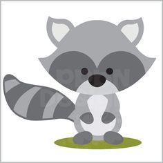 Cute baby raccoon clipart.