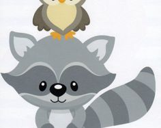 Baby raccoon clipart.