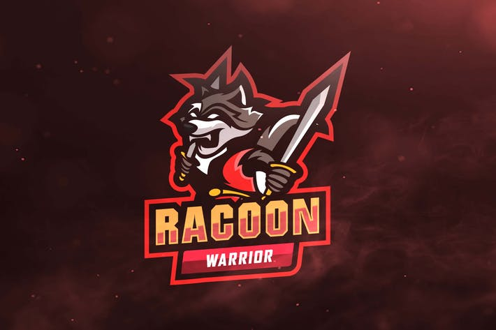 Racoon Warrior Sport and Esports Logo by ovozdigital on Envato Elements.