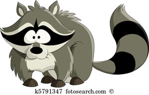 Coonhound Chasing A Raccoon Up A Tree Clipart.