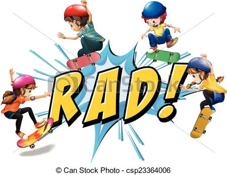 Vector Clipart of Rad kids.
