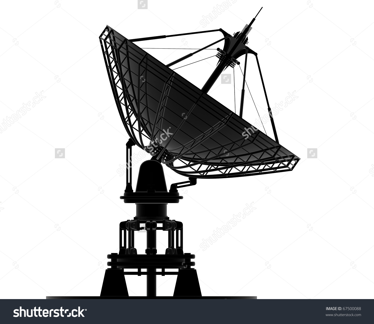 Satellite Dishes Antenna Doppler Radar Isolated Stock Illustration.