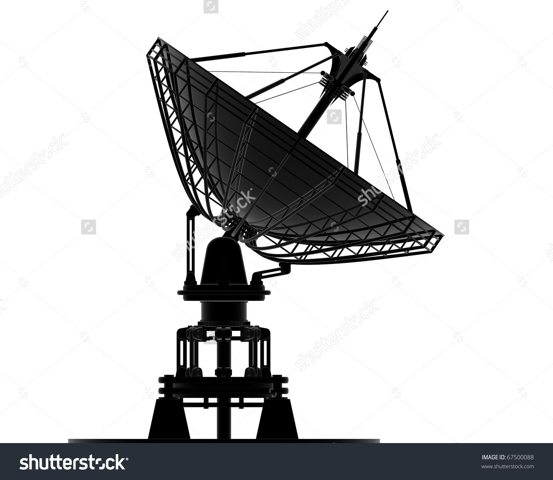 Satellite Dishes Antenna Doppler Radar Isolated Stock Illustration.