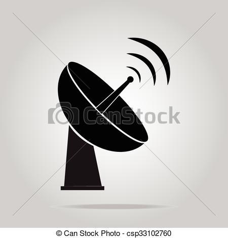 Clip Art Vector of Radar signicon satellite dish tv technology.
